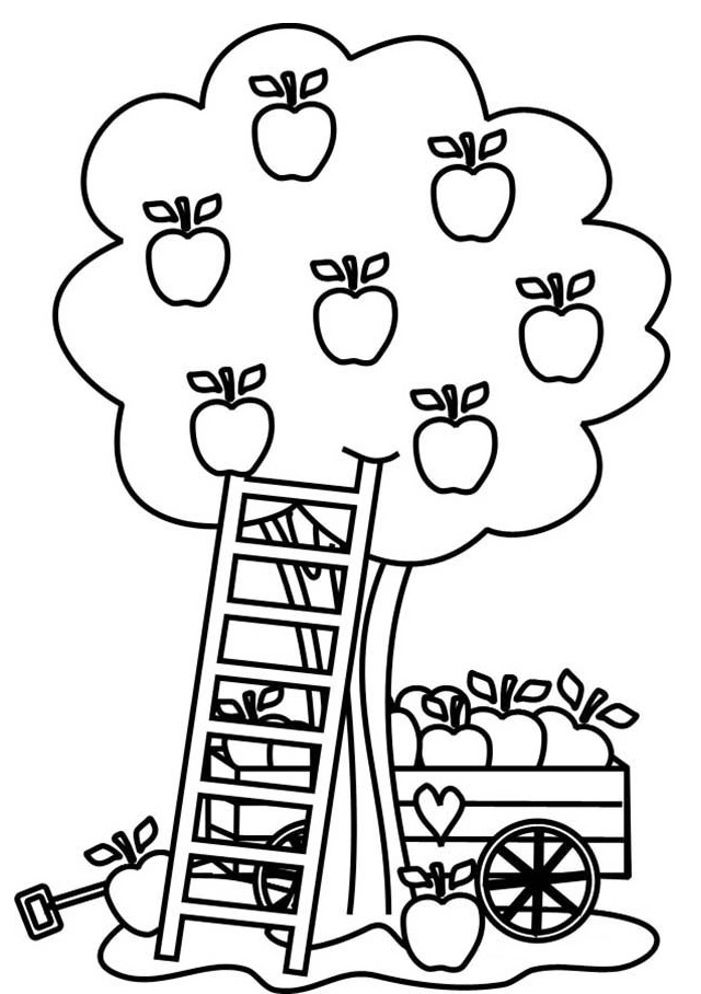 Apple Fruit Coloring Page To Print