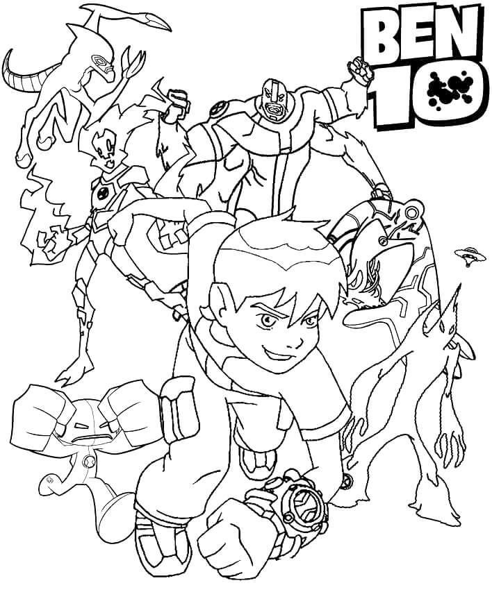 Ben 10 Characters Coloring Pages