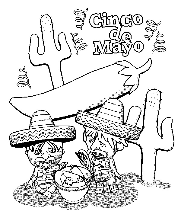 Cinco De Mayo Mexican Coloring Sheets Printable