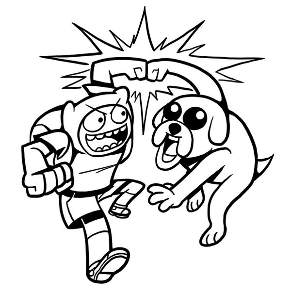 Finn Manusia And Jake The Dog From Adventure Time Coloring Pages