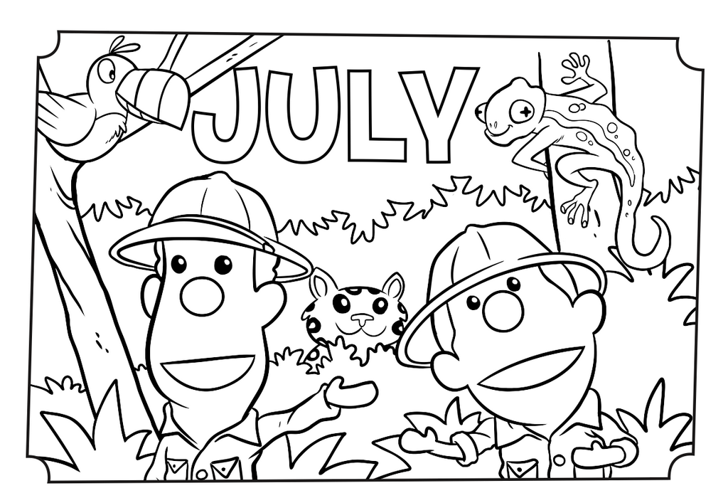 July month of the year coloring and activity page for Months of the year coloring pages