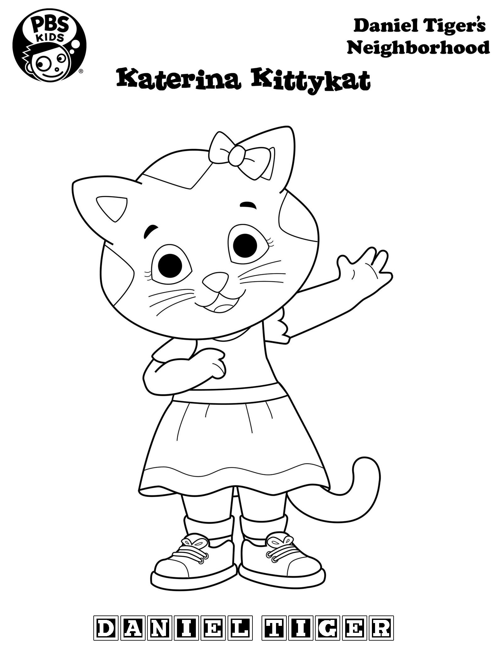 Katarina Kittycat from Daniel Tiger Coloring Page