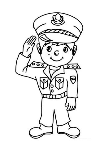 Kids Police Costume Coloring Pages
