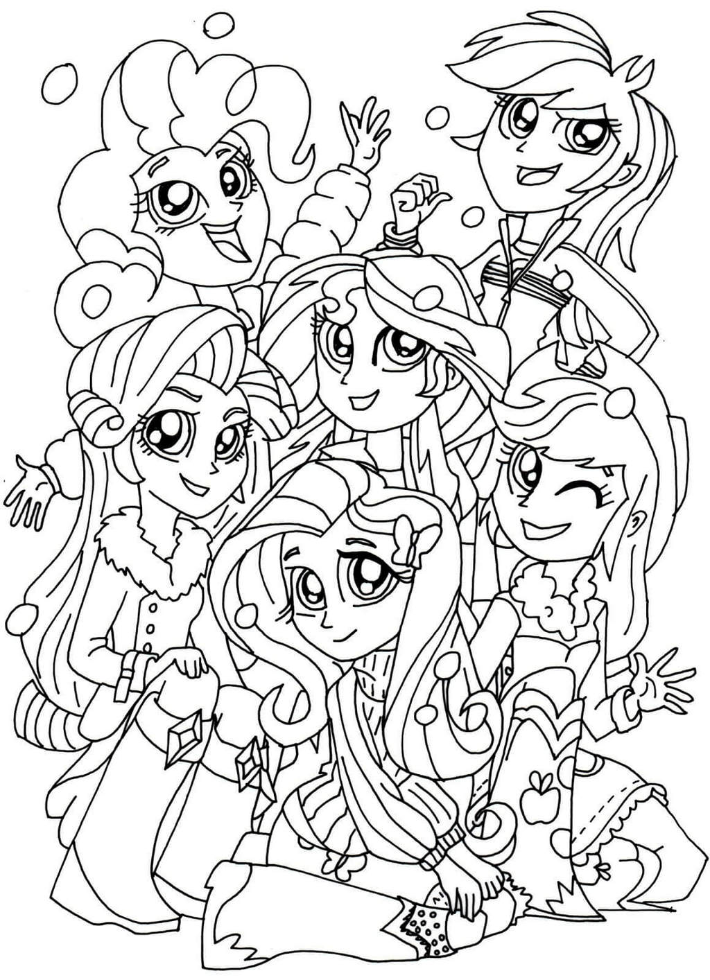 My Little Pony Equestria Girls Groups Coloring Pages