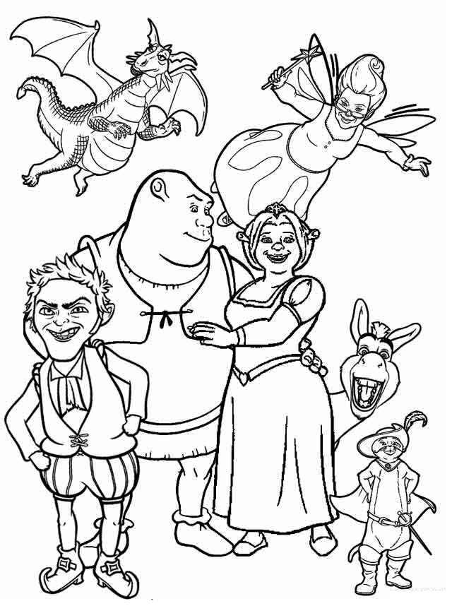 Shrek Fiona and Friends Coloring Page