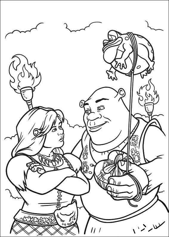 Shrek and Princess Fiona coloring page