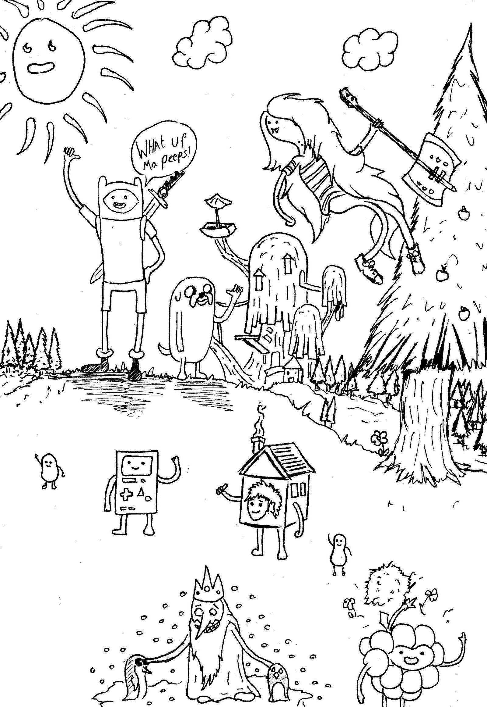 adventure time doodle cartoon network coloring page jpg