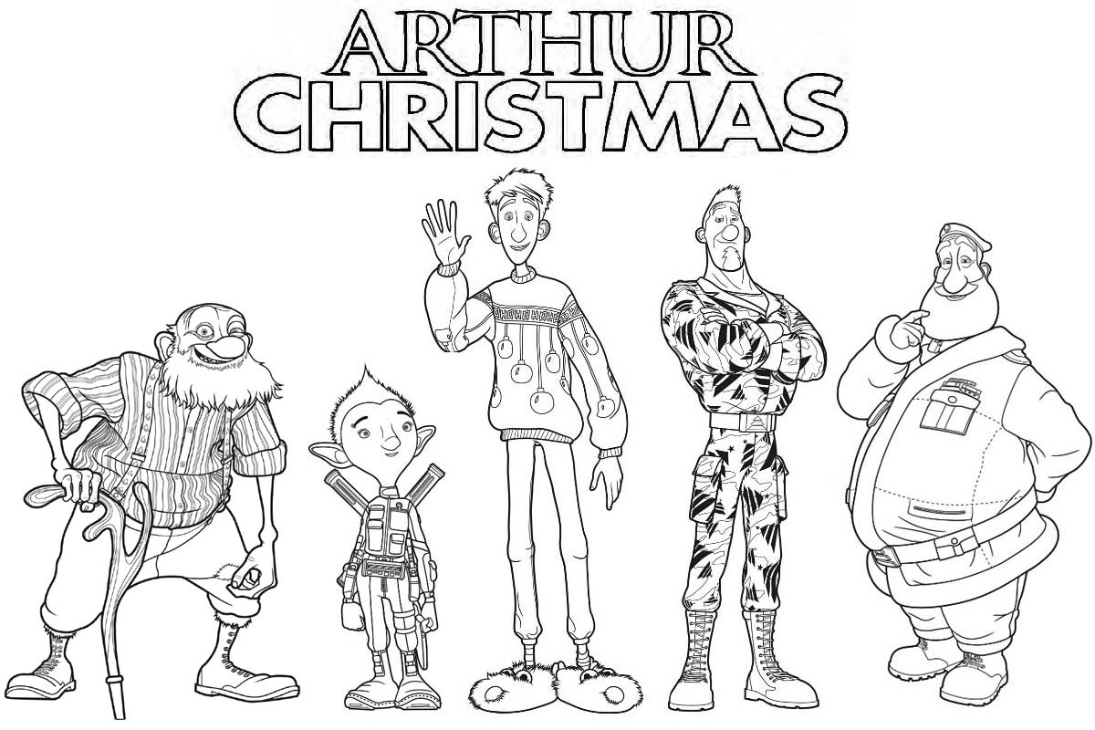 arthur christmas coloring pages - arthur christmas characters coloring page