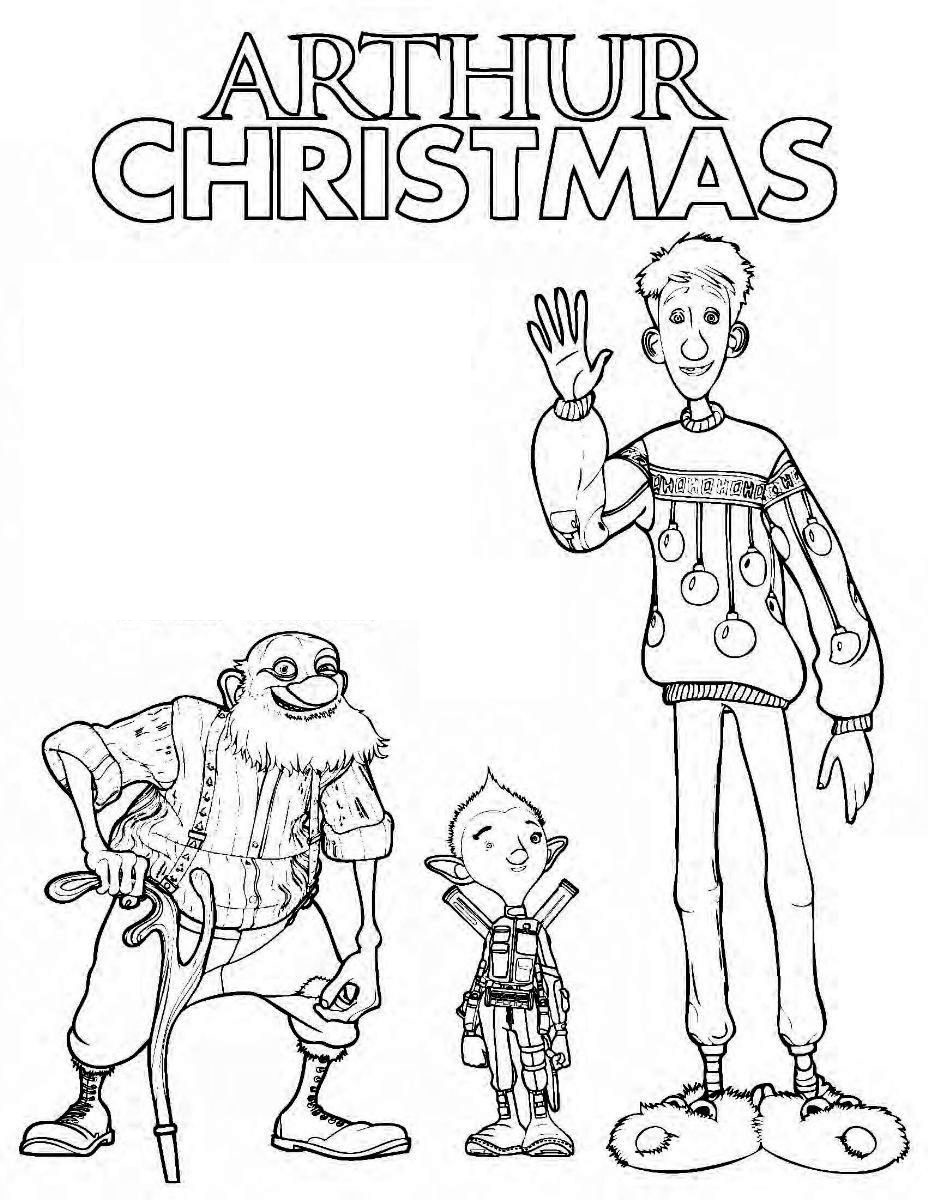 arthur christmas coloring and activity page