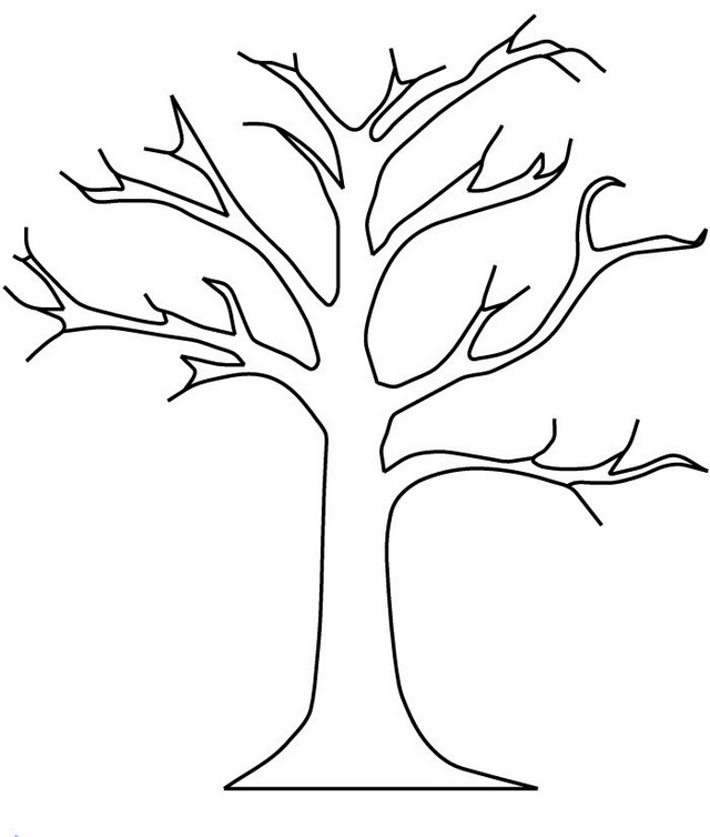 bare tree coloring and drawing page