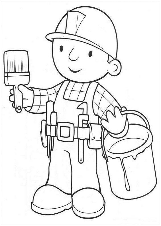 bob the builder painting coloring page