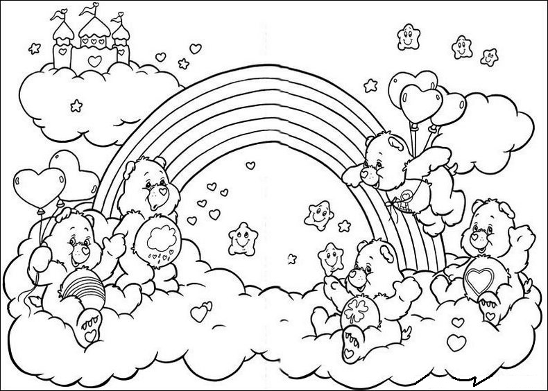 Care Bears Characters On Rainbow Coloring Pages