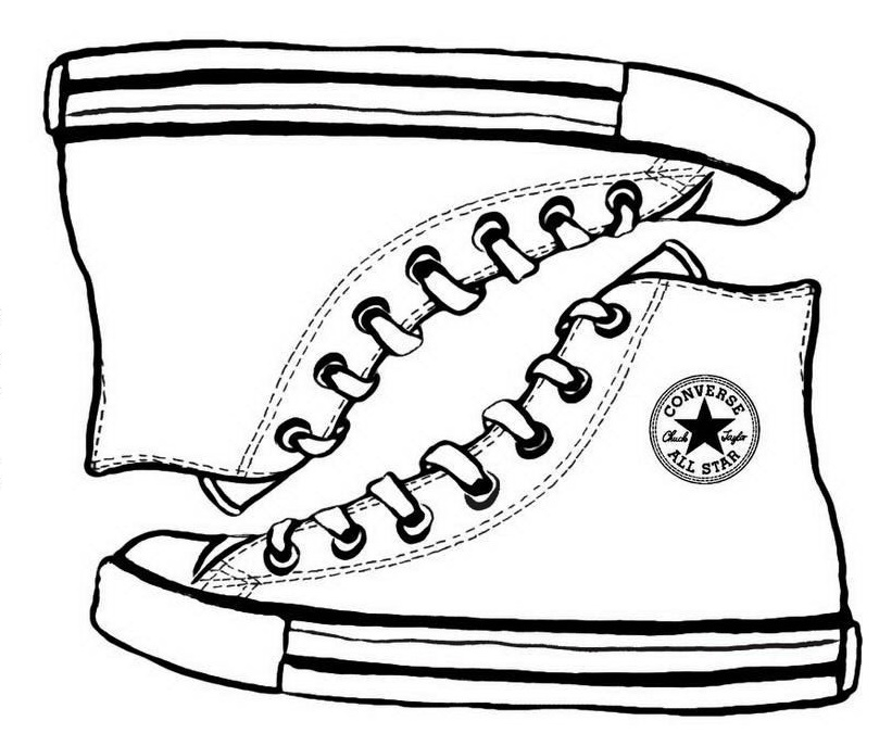 Converse Sketch Drawing Coloring Page Shoes