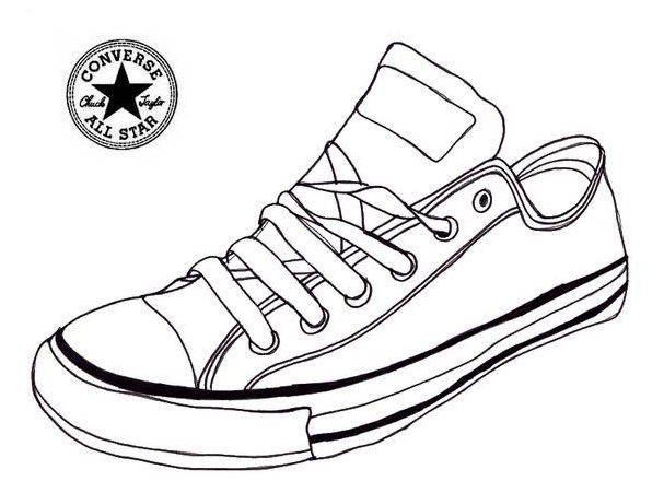 Converse Sneaker Coloring Page Shoes