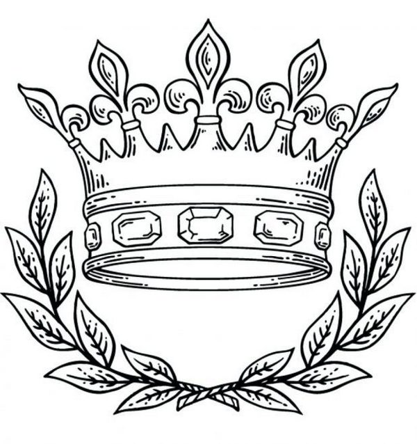 Crown King Queen Coloring Page