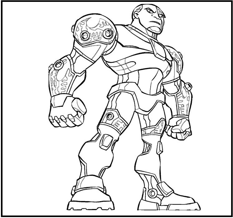 Cyborg From Justice League Coloring Sheet