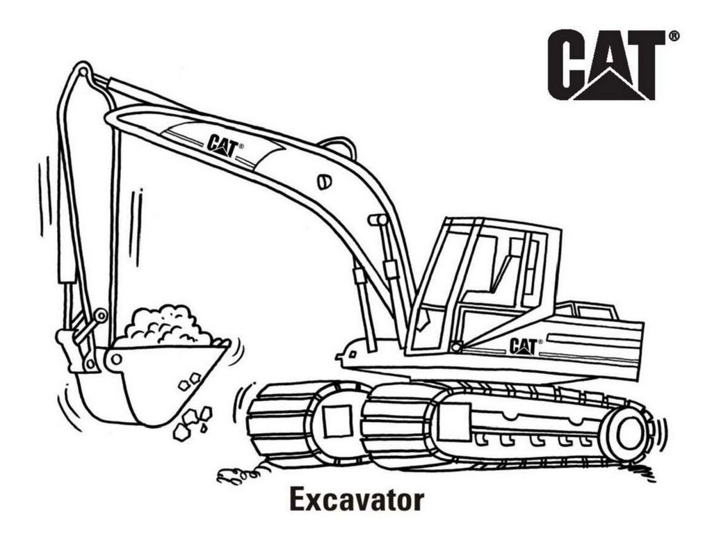 Excavator Cat Coloring Page Printable
