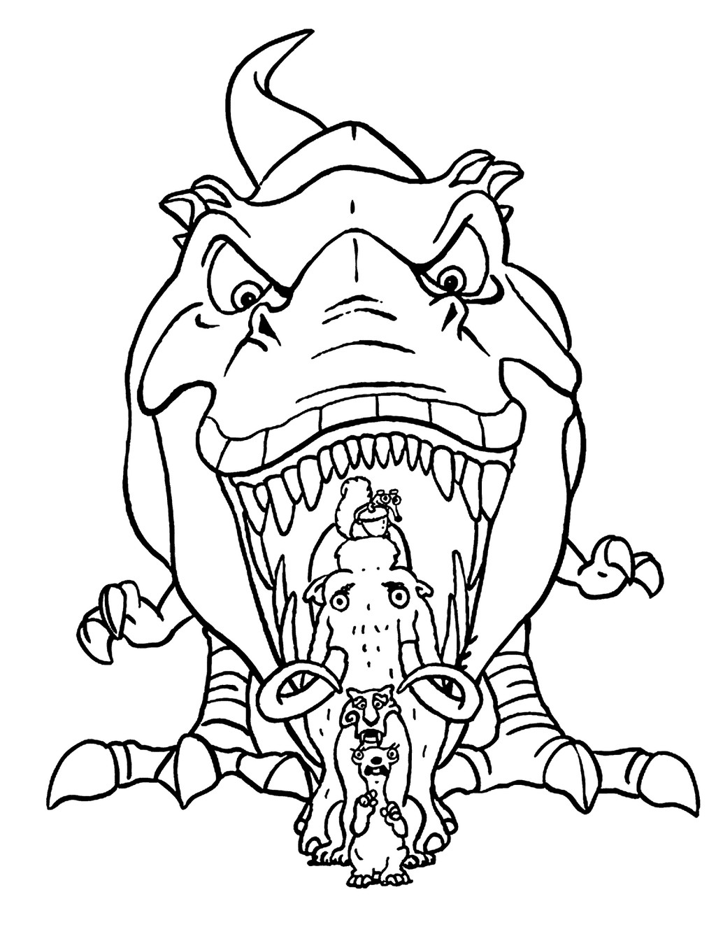 gertie dino from ice age coloring page