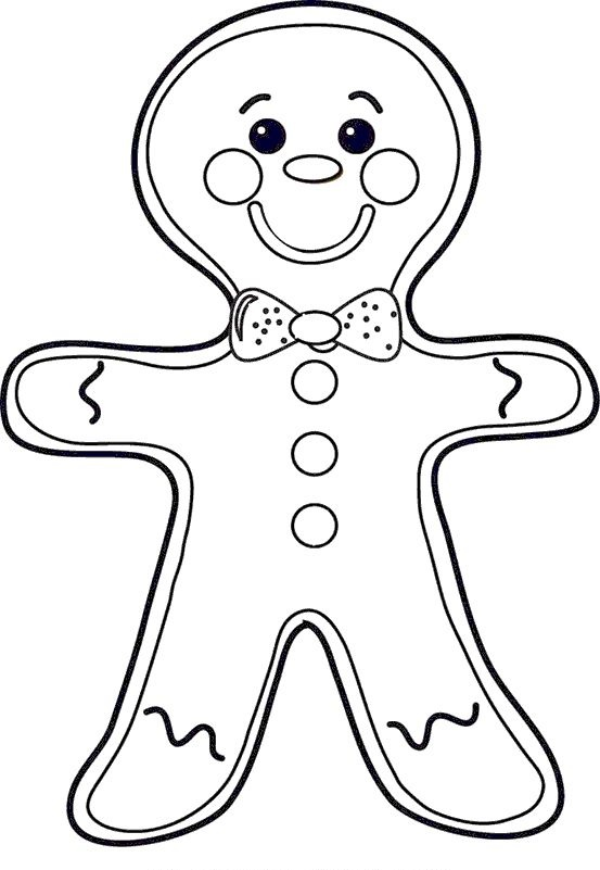 Gingerbread Man Coloring Sheet And Drawing For Kids