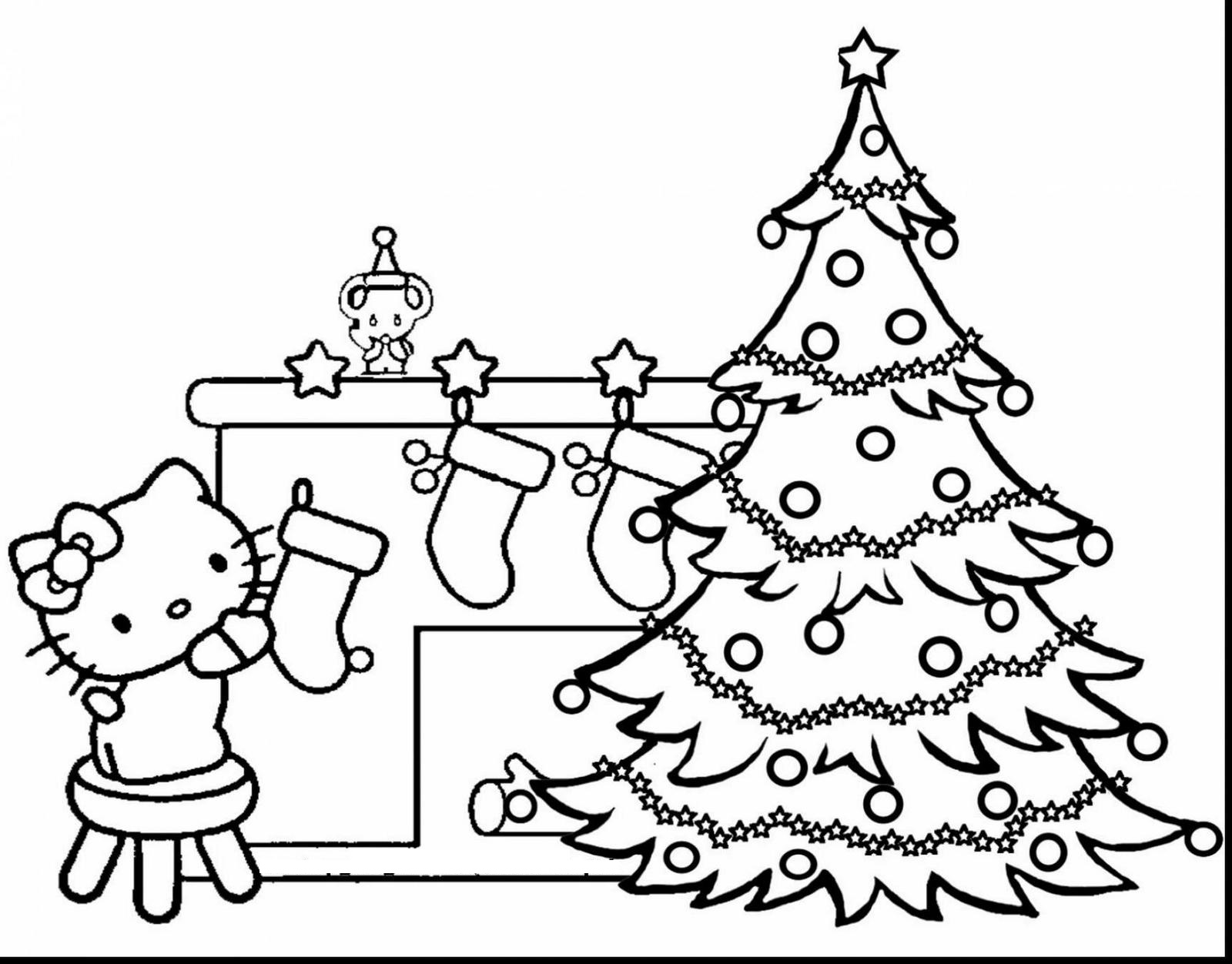 hello kitty christmas tree and stocking coloring sheets printable