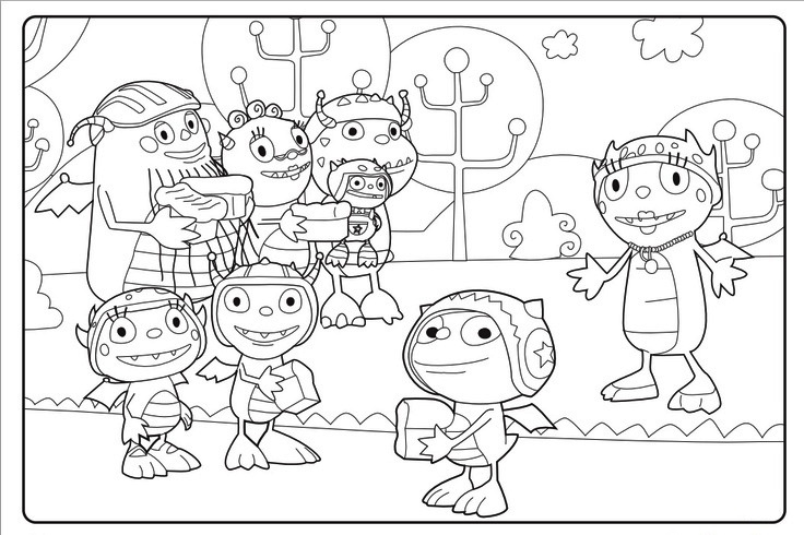 Henry Hugglemonster Characters Coloring Sheets
