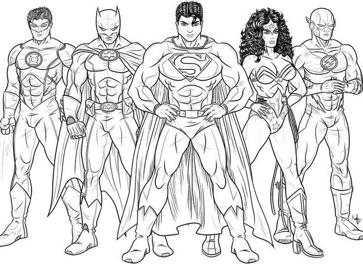 Justice League Sketch Drawing Coloring Page