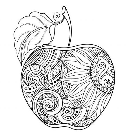 Mandala Apple Coloring Pages
