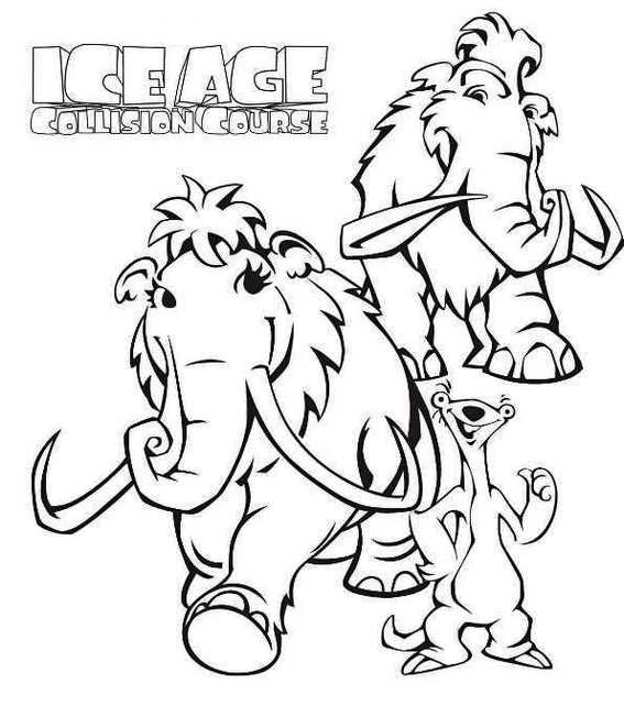 manny from ice age coloring page