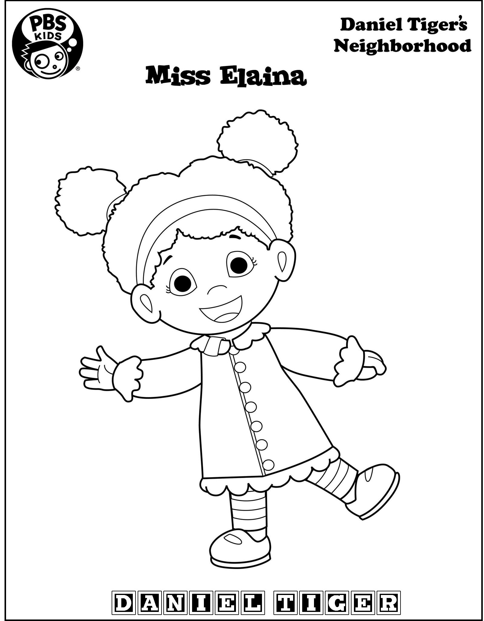 miss elaina from Daniel Tiger coloring page