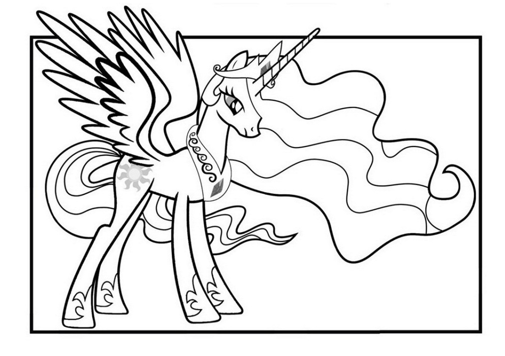 Princess Celestia Coloring Mlp Unicorn Coloring Pages
