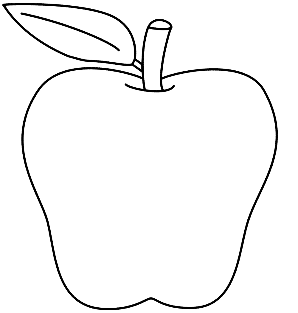 Printable Apple Coloring Sheet Outline Drawing