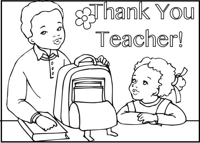 Thank You Teacher Coloring Book For Students