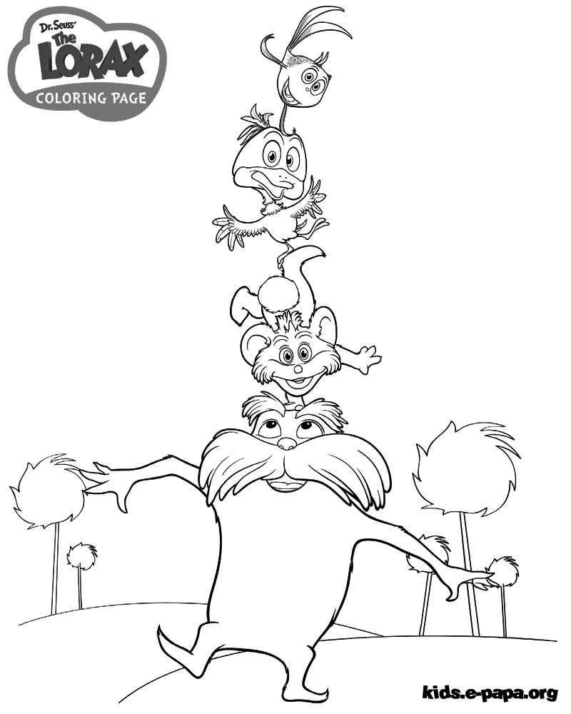 The Lorax Coloring And Sketch Drawing Pages
