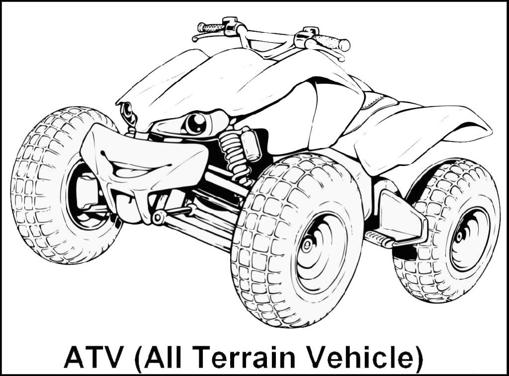 4 wheeler ATV All Terrain Vehicle Coloring Sheet
