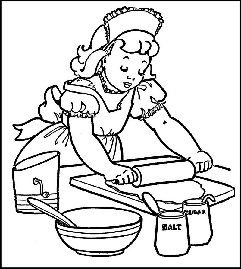 Chef make cakes coloring sheet