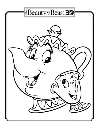 Chip and Mrs Potts Teapot coloring page
