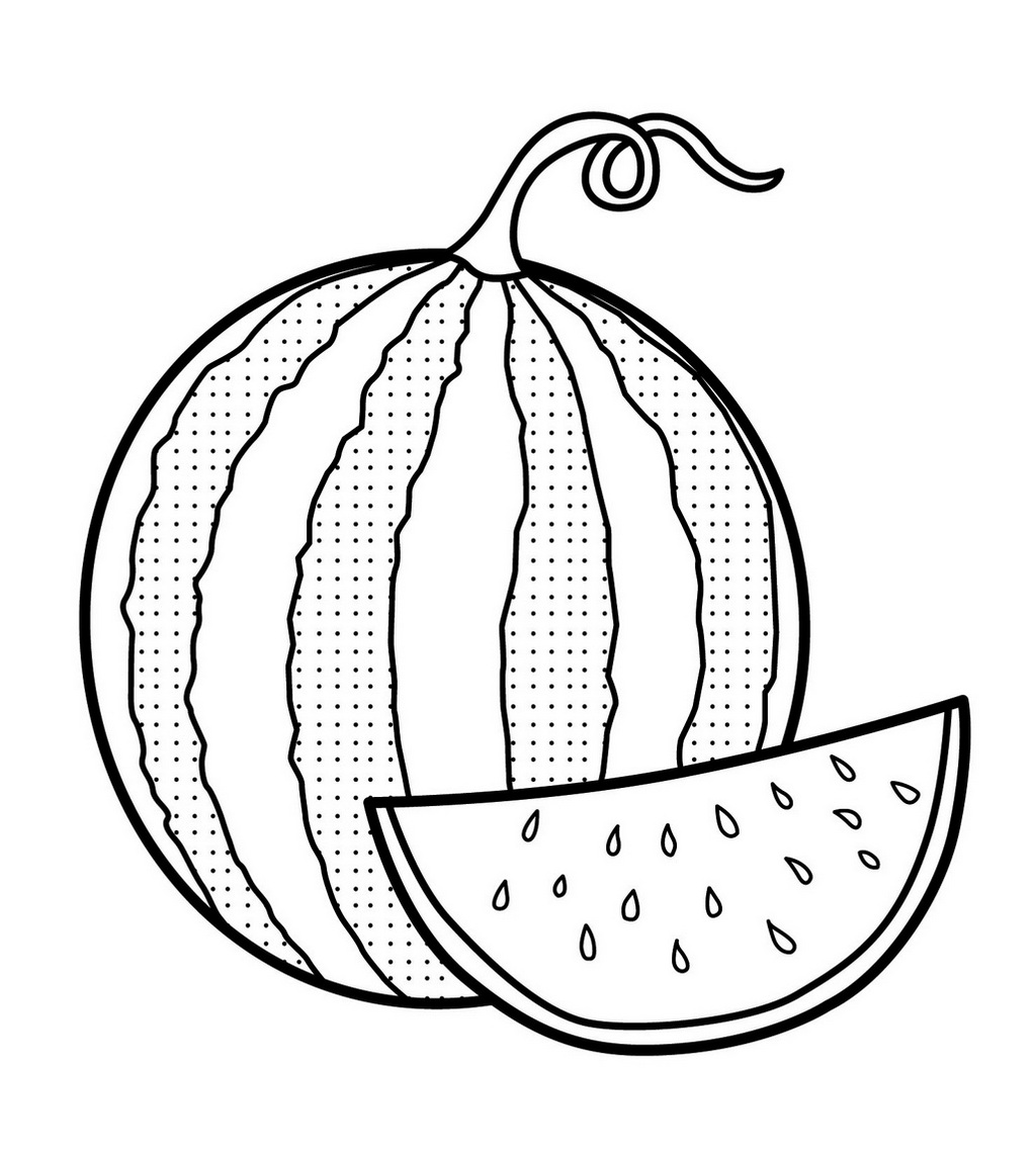 Fresh Image of Watermelon Coloring Page