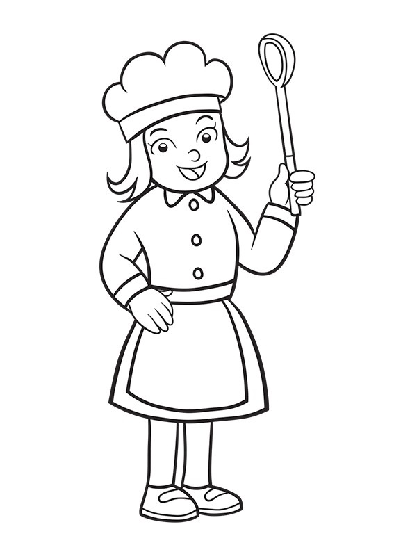 Girl Chef coloring sheet for kids