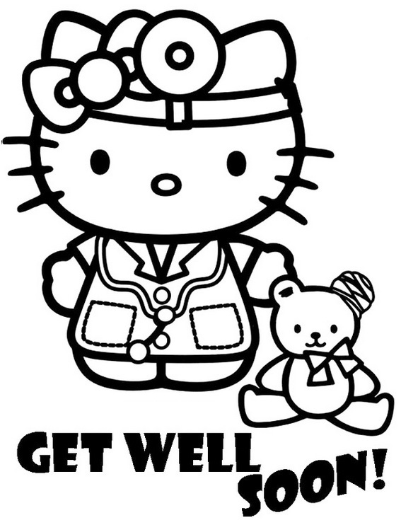 Hello Kitty Nurse Coloring Sheet