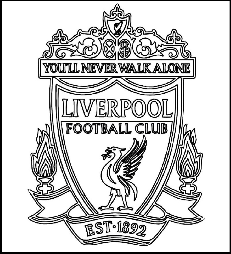 Liverpool football club logo coloring printable picture for Soccer coloring pages to print
