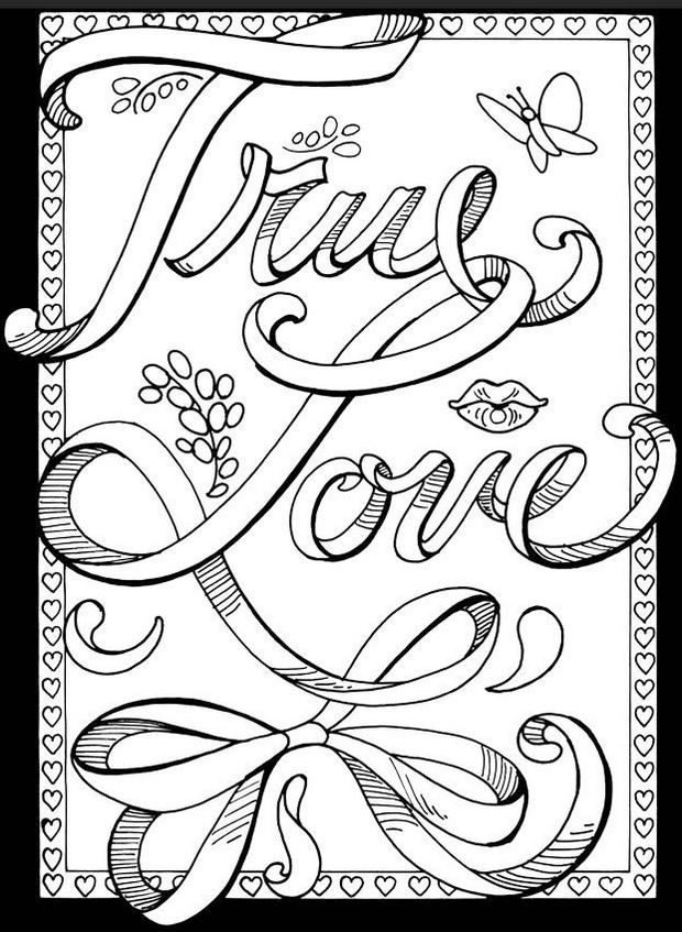 Love Coloring Picture True Love Quote