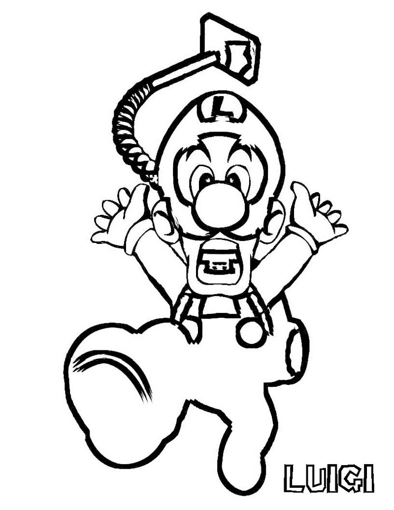Luigi Super Mario Printable Coloring Picture