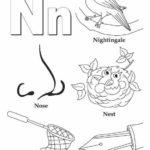 N alphabet atoz coloring page