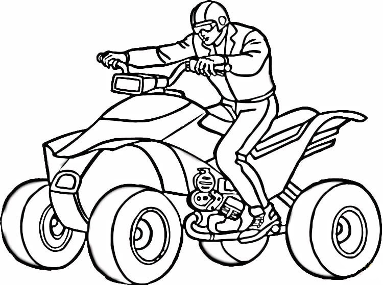 Rider ATV Motor Coloring Picture