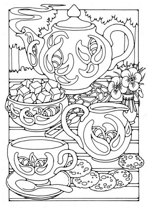 Teapot and Cup Set coloring page