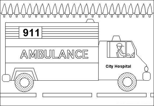 ambulance transportation coloring picture
