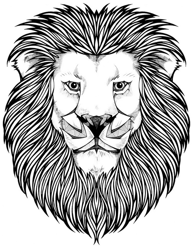artistic lion face coloring page for adults