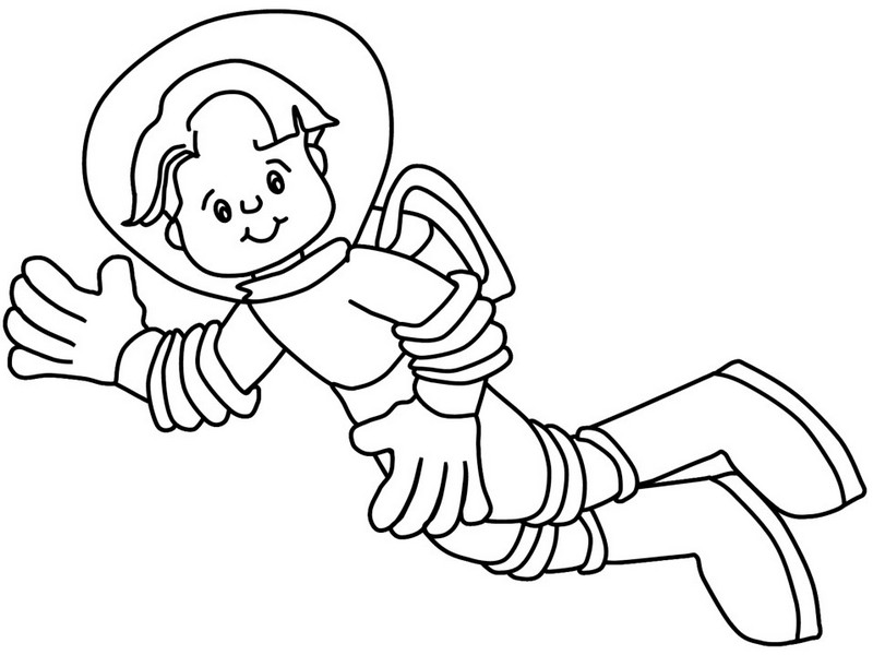 astronaut in outer space coloring sheet