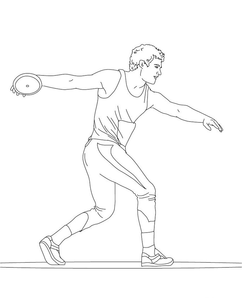 athletics sport discus throw coloring sheet