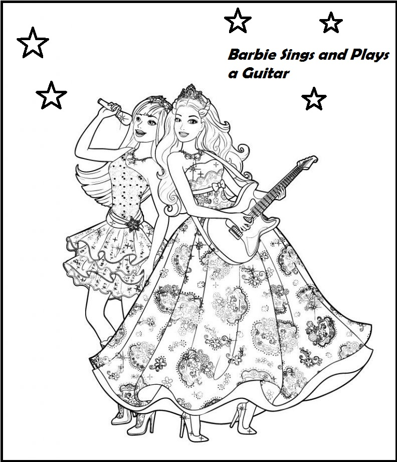 barbie princess singer coloring picture